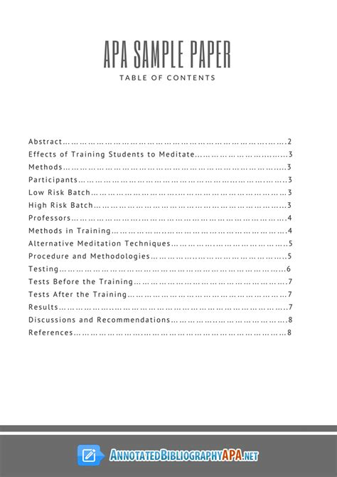 Table contents research paper apa png 794x1123